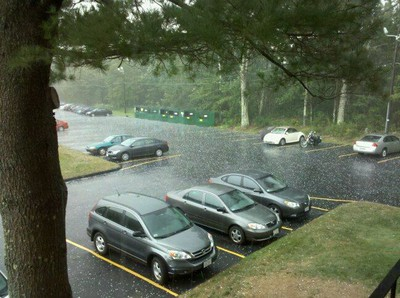 Damn it was just hailing here